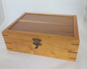Cherry and walnut jewelry box