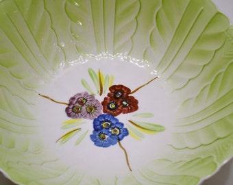 Vintage Yamasho Ironstone Bowl Green Floral Bowl Mid Century PanchosPorch