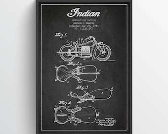 1943 Indian Motorcycle Patent Wall Art Poster, Indian Poster, Indian Print, Home Decor, Gift Idea, TRBM13P