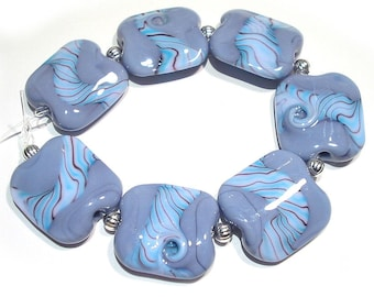 Handmade Glass Lampwork Beads, Lavender Blue Twisted Squeeze
