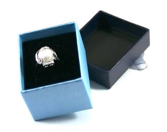 8 boxes for ring, blue, 4 x 4.1 x 5.6 cm