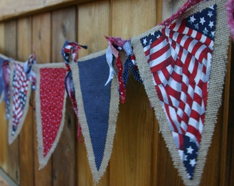 Patriotic; Red, White & Blue; Fourth of July, Banner; Pennant; Flag; Burlap; XL, 17 1/2' Long