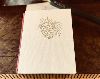 Gold Pinecone Mini Blank Journal handmade letterpress printed hardback tiny book with marbled end sheets