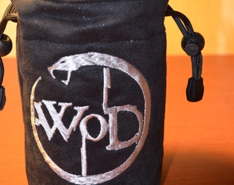 Dice Bag custom Embroidery Suede Black and Silver World of Darkness Logo