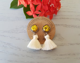 Gold Glitter Resin Button/Cream Cotton Tassel Earrings - Hypo-Allergenic