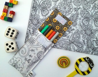 Large pouch to markers and 5 washable markers. Paisley pattern, inside yellow circles. Coloring, Mandala, Color Pencil case me
