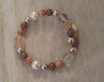 Brown and Clear Beaded Wraparound Bracelet