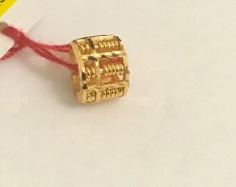 Solid 22k gold abacus loop pendant