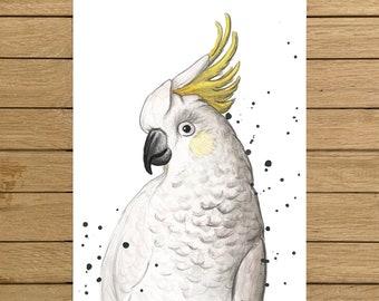"""Cockatoo, Tropical Bird, Birds, Giclée Print, Watercolor Illustration, Home Decor, Nursery Decor, A5, 8.5""""x11"""", A4, A3, 13""""x19"""