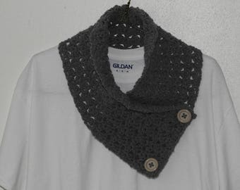 Grey Cowl Scarf with Buttons