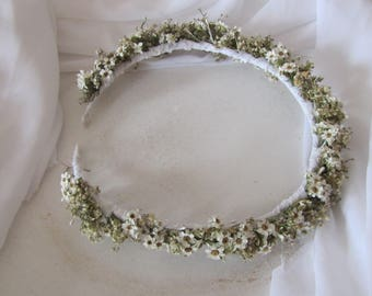 New hair crown real flowers tiara wedding white flower wedding white little blooms wreath