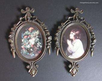 2 Vintage Victorian Syle Art Prints, Fancy Brass Framed