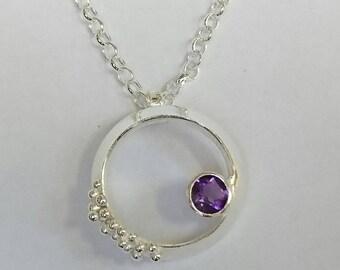 Sterling silver handmade amethyst necklace with granulation, hallmarked in Edinburgh