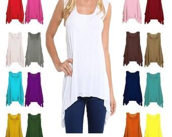 New Women's Hanky Hem Top Gathered Ladies Vest Flared Swing Dress Top