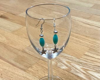 Silver, Turquoise and Starfish Earrings. A must for all mermaids this summer!!!