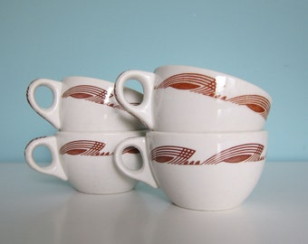 Vintage Diner Cups, Restaurant China Cups, Vintage Coffee Cups, Mid Century Diner Cups, Deco Diner Cups, Diner China, Warwick China