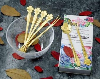 Bulk of 100 Bouquet of Flower Tea Spoons & Fruit Forks Box Set Party Favors