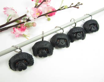 Newfoundland dog stitch markers, Newfoundland gifts charms polymer clay knitting accessories dog charm pet gift knit knitters Newfoundland