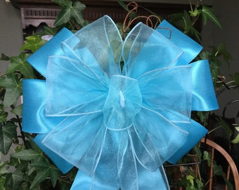 "Turquoise & Sheer Ribbon layered together  10"" wide 20"" long bow for  wedding pew wreaths decor small tree topper"