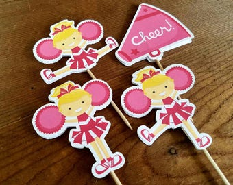 Cheer Party - Set of 12 Assorted Cheerleader Cupcake Toppers in Red by The Birthday House