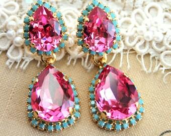 Pink and Turquoise Crystal chandelier statement earrings teardrops - 14k gold plated earrings real swarovski rhinestones .