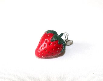 Strawberry pendant, Miniature food, Polymer clay jewelry