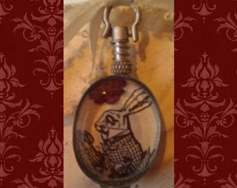 TREASURY ITEM: Double-Sided Pocket Watch-Style Alice in Wonderland Pendant