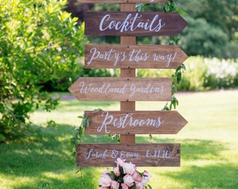 Wedding Directional Sign - Personalized, Hand Painted, Wooden, Arrow, Reception, Ceremony, Rustic, Hand Lettered, Painted, Chalkboard