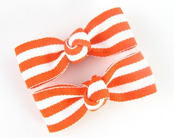 Orange and White Hair Clips - Taffy Striped Toddler Hair Clips - Medium Tuxedo Bow Knotted Center AP