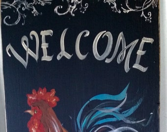 """11"""" x 22"""" #413 Rooster Welcome Friends Art on Rustic Wood"""
