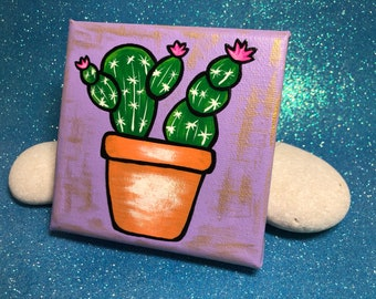 Cactus Painting / 4x4 Canvas Painting