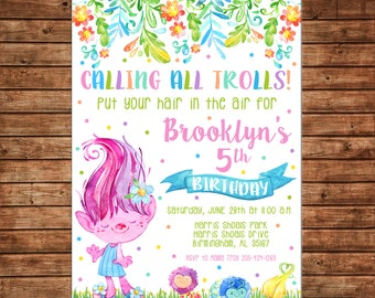 Girl Invitation Watercolor Trolls Flowers Meadow Birthday Party - Can personalize colors /wording - Printable File or Printed Cards