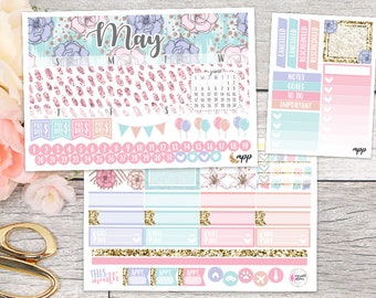 May Monthly Kit || Planner Stickers Made to Fit Erin Condren Life Planner ECLP EC