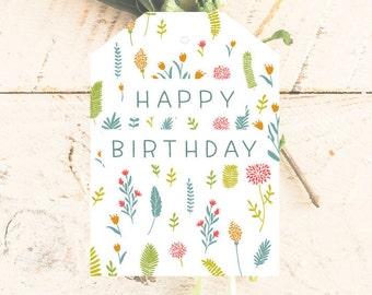 Happy Birthday Cards   Printable Tags   Instant Digital Download   4 + 2 Labels   Greeting Cards   Spring Flowers   Celebration   Favor Bag