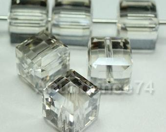 12 pcs Swarovski Elements - Swarovski Crystal 5601 4mm CUBE - Silver Shade