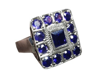 Vintage Sterling Silver and Blue Sapphire Ring huge Square Ring godly ring giant jewelry unique vintage art deco ring 1920s ring art