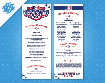 Printable Wedding Ceremony Program | 4.25'' x 11'' Size | Front and Back Layout | Baseball Theme | Opening Day