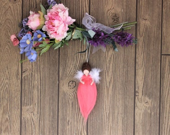 Voltera Luck Coral Angel; Needle Felted Dolls; Waldorf Inspired; Fairy Dolls; Hanging Dolls