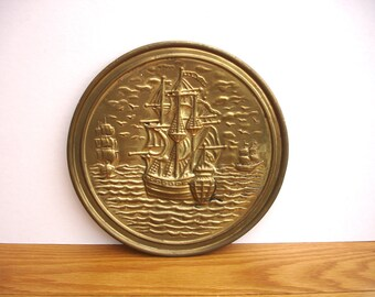 1950s Vintage Brass Wall Plaque Vintage Brass Wall Hanging of 3 Sailing Ships Vintage 3 Tall Ships