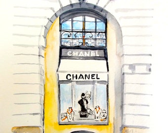Chanel Fashion Watercolor, Fashion Art Print, Paris Illustration, Cityscape - Fashion Illustration of Lana Moes, Paris French Poster