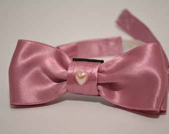"""Kitten bow tie """"Little Darling"""" with collar & bell. Small pink bow tie for kitten with collar."""
