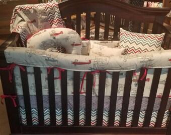 Airplane Crib Bedding - Vintage Airplane, Pewter Chevron, and Gray Crib Bedding Ensemble