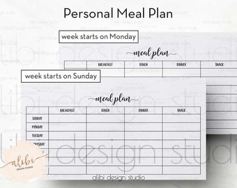 Meal Planner, Personal Planner, Weekly Meal Planner, Meal Planner Printable, Meal tracker, Health Tracker, Meal Organizer, Health Journal
