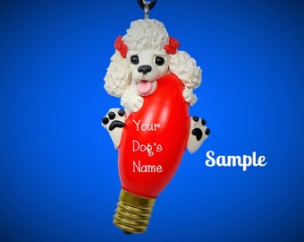 White Poodle Dog red bows Christmas Holidays Light Bulb Ornament Sally's Bits of Clay PERSONALIZED FREE with dog's name