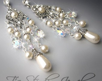 Bridal Chandelier Earrings Pearl and Crystal Vintage Wedding Theme Antique Silver - ELIZABETH