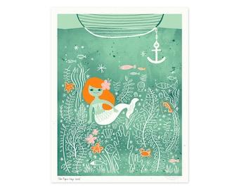 Mermaid Lagoon Illustrated Art Print