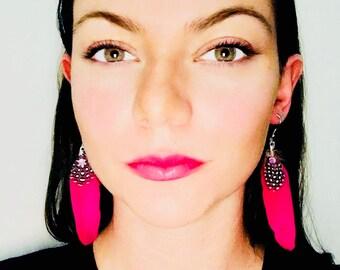 Pink boho feather earrings