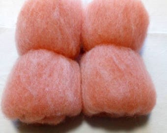 50g batt wool from Suffolkschaf for spinning or felting in orange