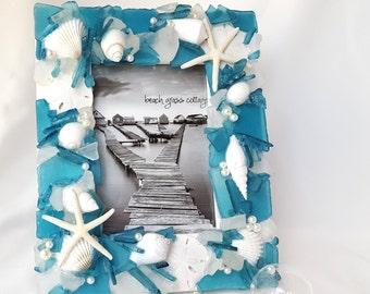 "Sea Glass Frame, Beach Glass Frame, Beach Decor Seashell Frame, Coastal Nautical Seaglass Frame - 5x7"" AQUA TEAL"