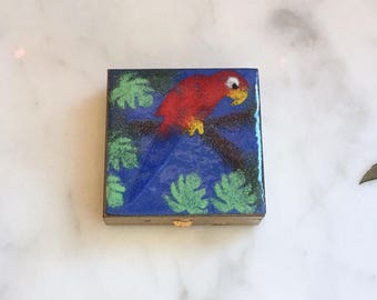 Vintage 50s Bird Pill Case Enamel on Copper Parrot Compact Mirror